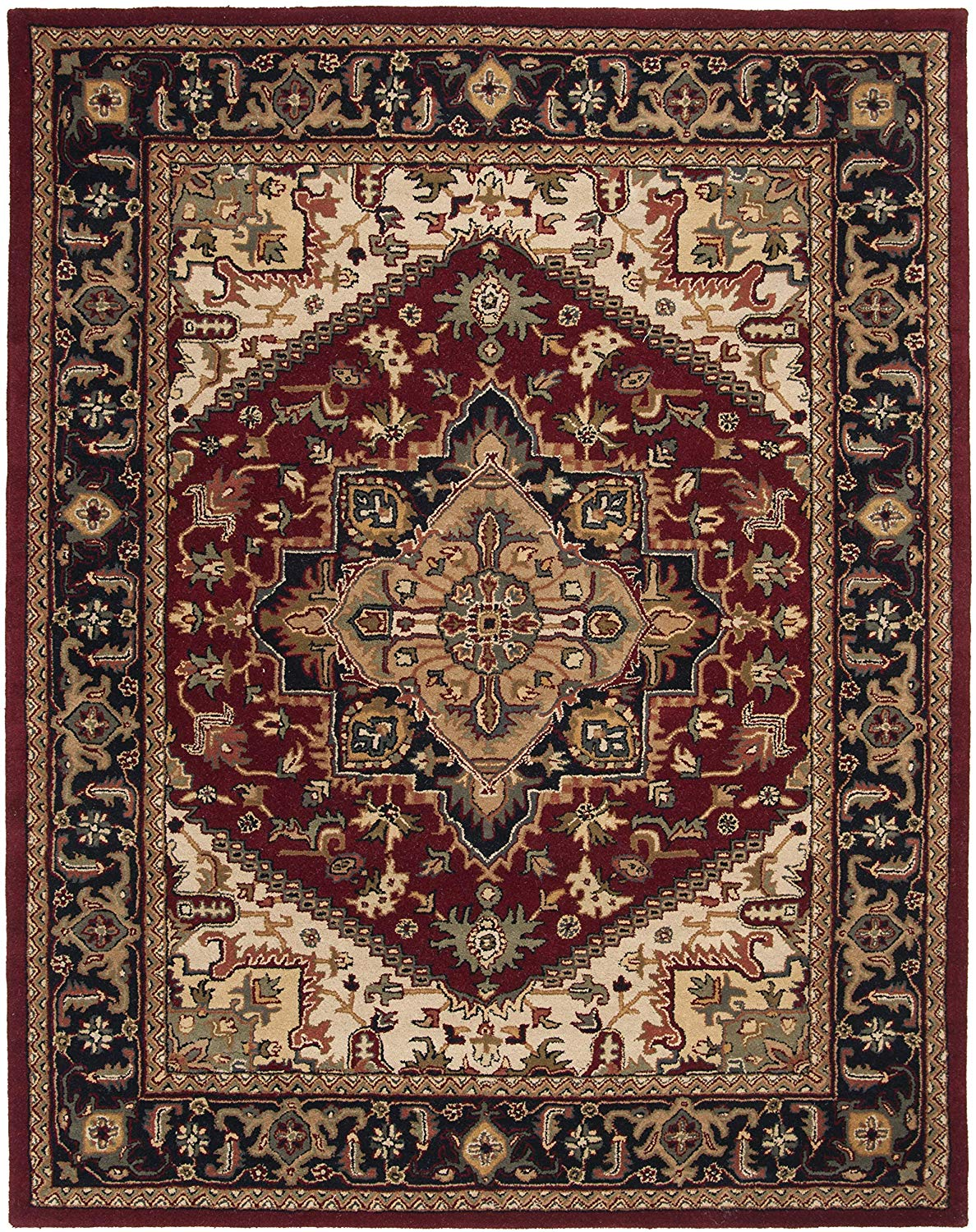 Safavieh Heritage Collection HG625A Handcrafted Traditional Oriental Heriz Medallion Red Wool Area Rug