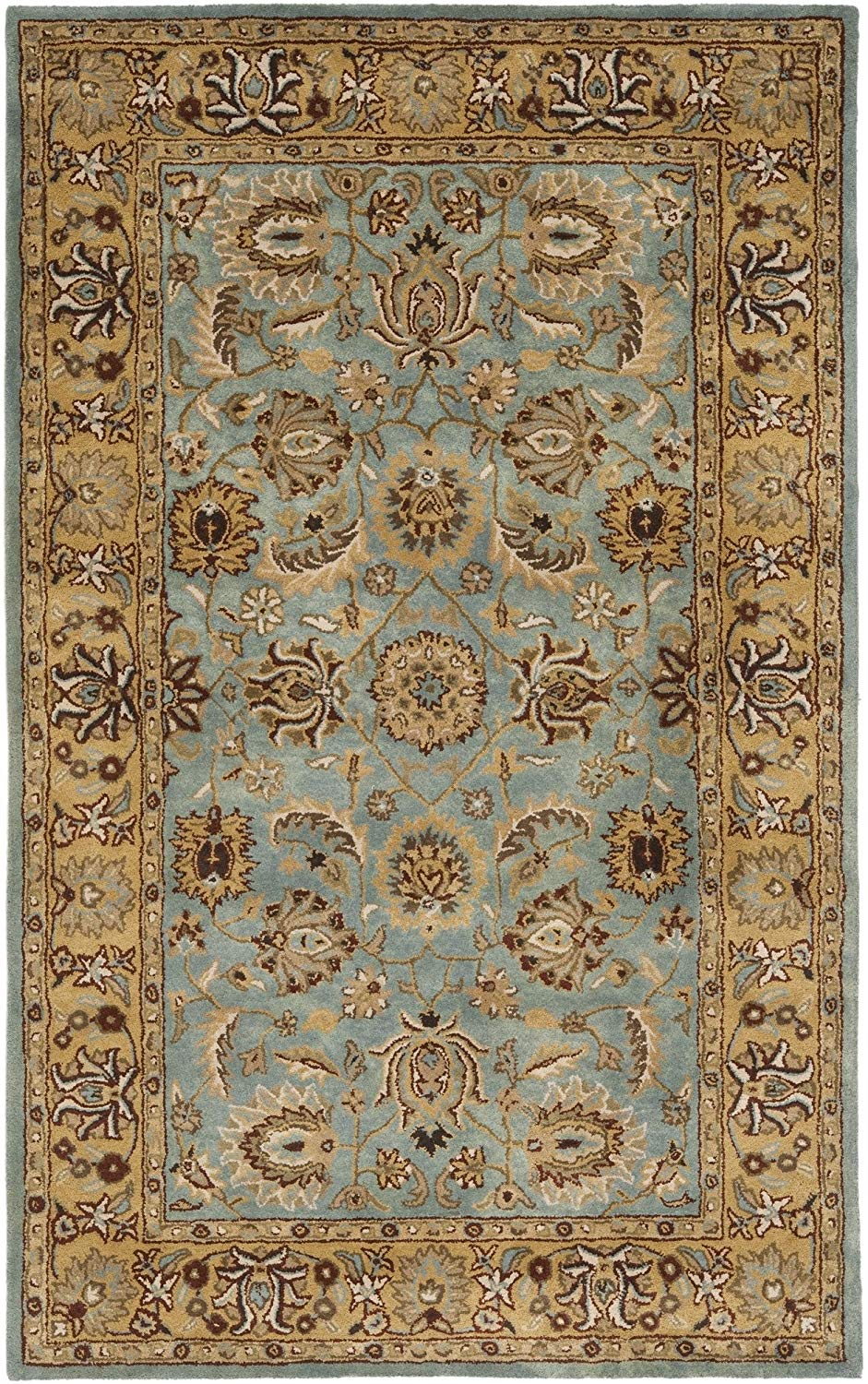 Safavieh Heritage Collection HG958A Handcrafted Traditional Oriental Blue and Gold Wool Area Rug (3in x 5in)