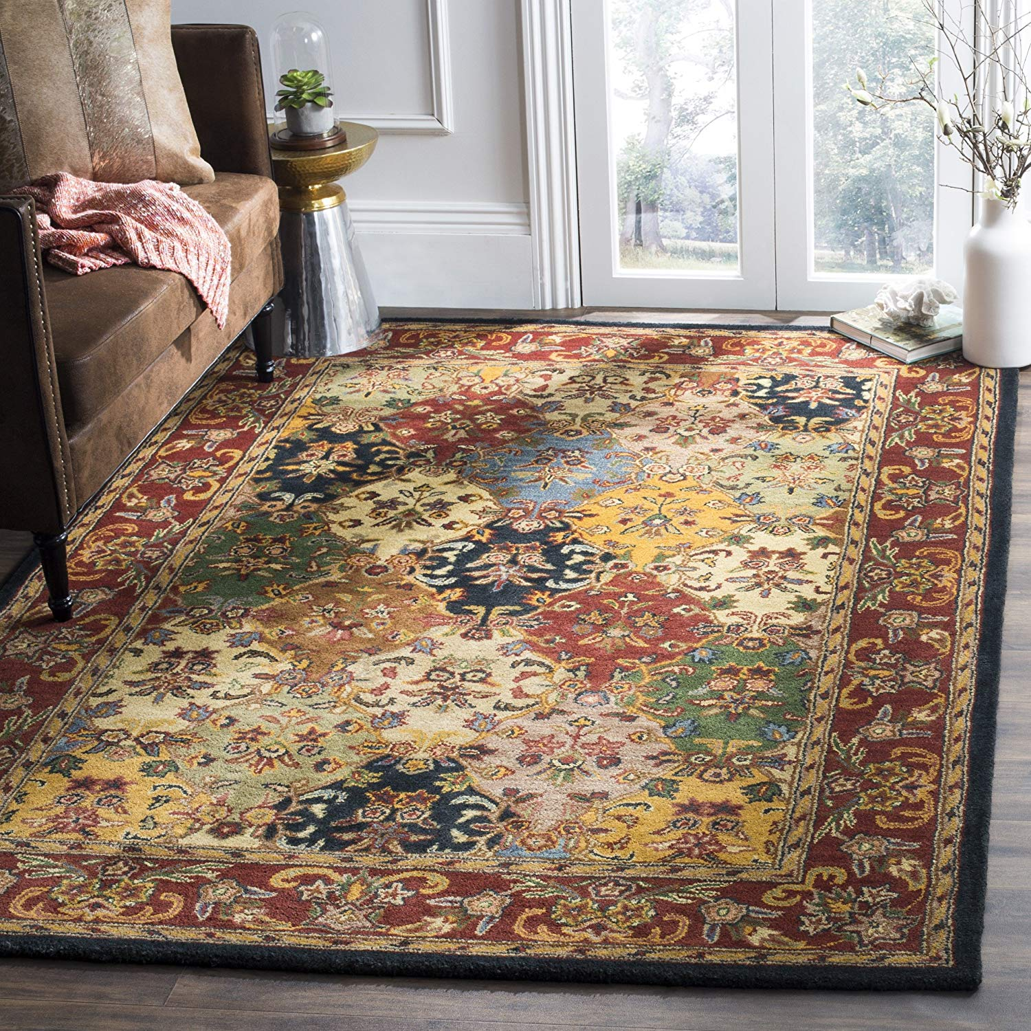 Safavieh Heritage Collection Handcrafted Traditional Oriental Multi and Burgundy Wool Area Rug