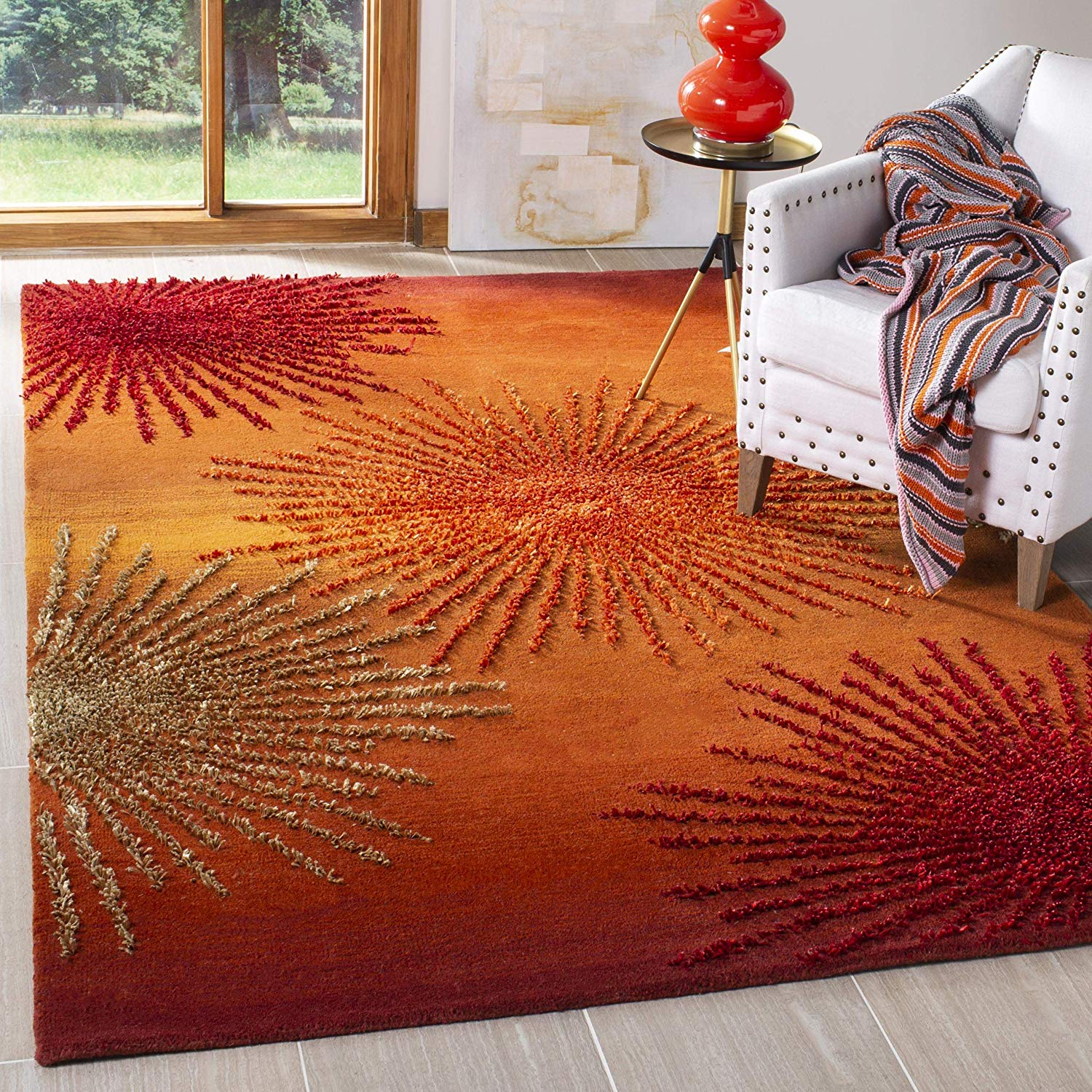 Safavieh Soho Collection SOH712R Handmade Fireworks Rust and Multicolored Premium Wool Area Rug