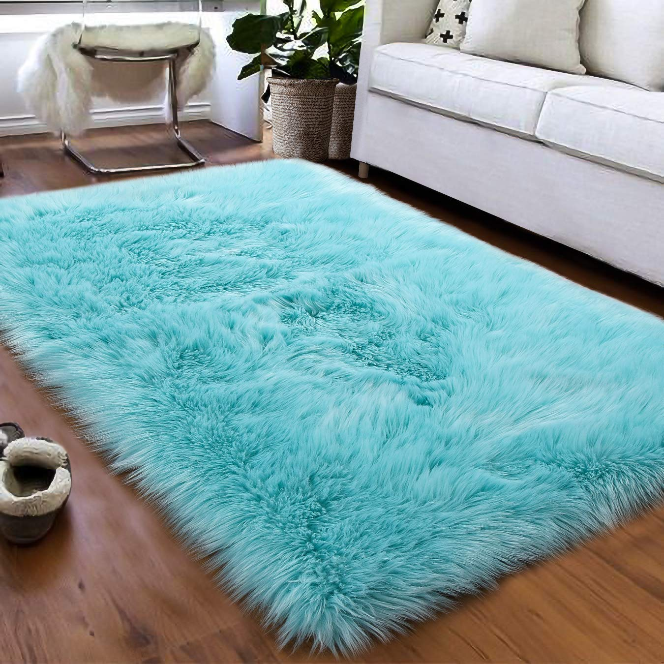Softlife Faux Fur Sheepskin Area Rugs Shaggy Wool Carpet for Girls Room Bedroom Living Room Home Decor Rug (3ft x 5ft, Light Blue)