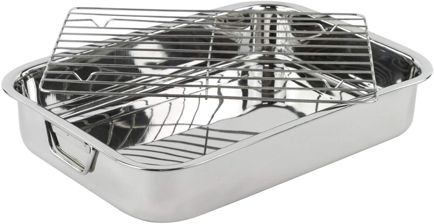 Stainless Steel Heavy Duty 16in Lasagna and Roasting Pan with Rack
