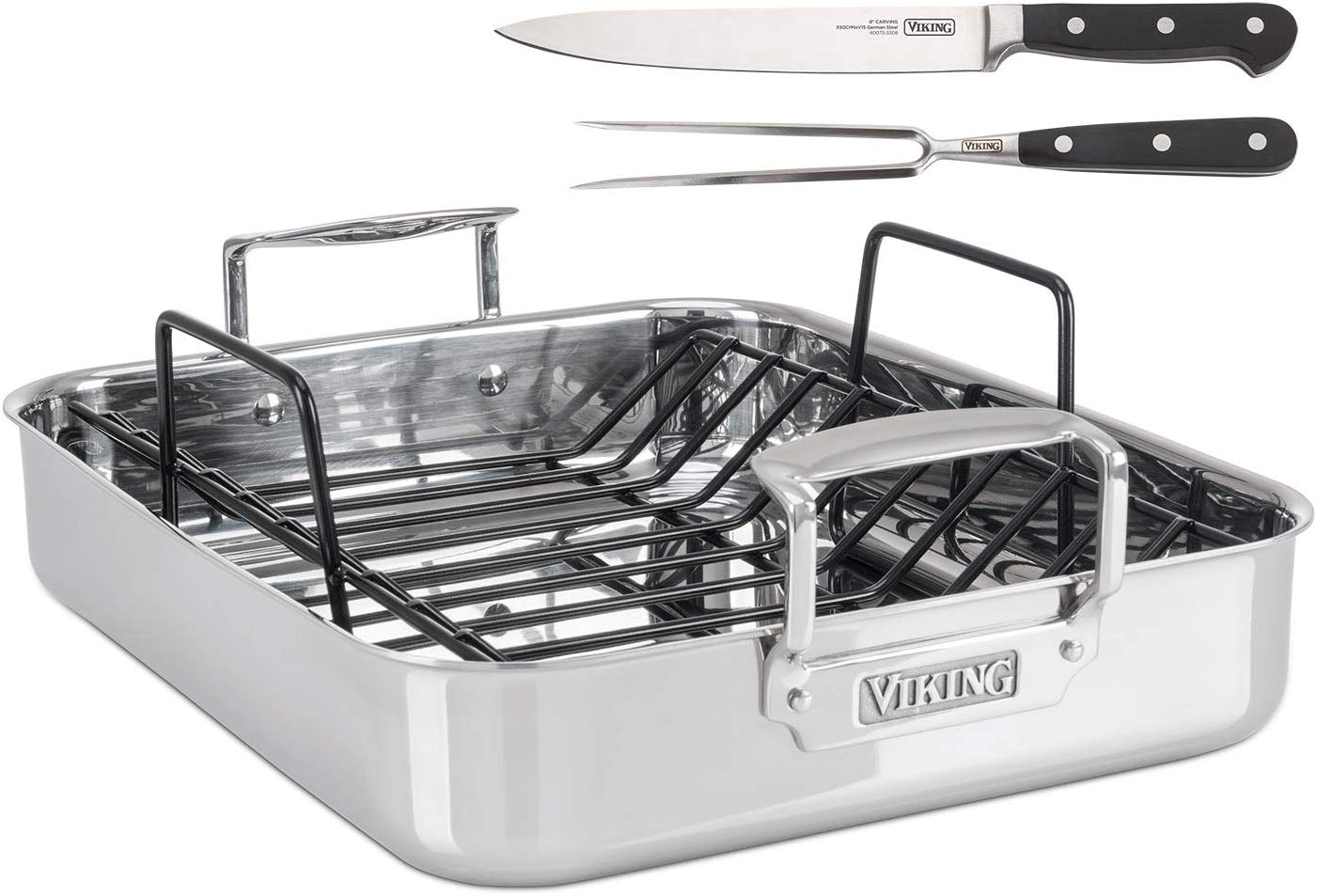 Viking Culinary 4013-9902 3-Ply Stainless Steel Roasting Pan with Nonstick Rack + BONUS