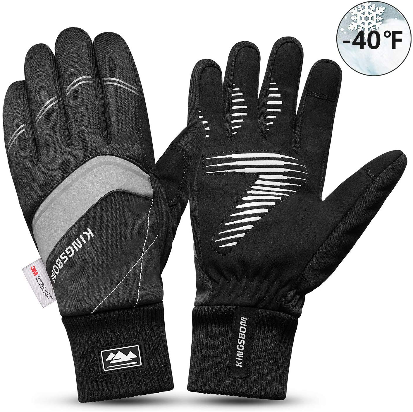 KINGSBOM Waterproof Warm Gloves - 3M Thinsulate Winter Touch Screen Thermal Gloves