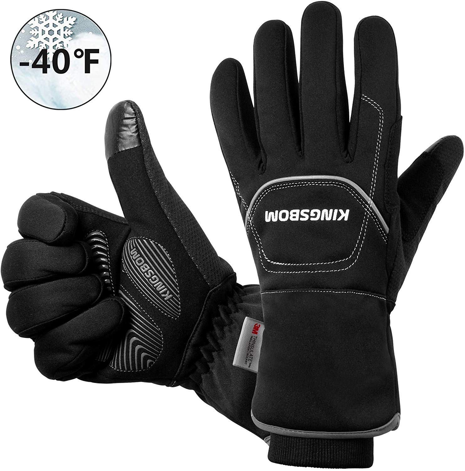 KINGSBOM Waterproof & Windproof Thermal Gloves - 3M Thinsulate Winter Touch Screen Warm Gloves
